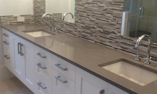 Concrete Colored Quartz Bathroom Countertop
